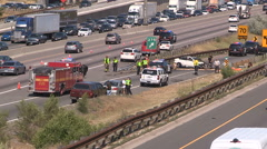 Serious car crash and accident scene on highway Stock Footage