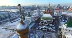 Cross on wooden belfry in open air museum Izmylovo Kremlin in Moscow, Russia. Stock Footage