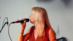 Music Woman Singer with microphone. Stock Footage