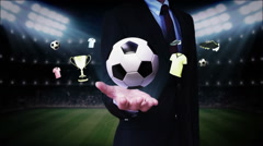 Businessman open palm,Soccer ball icon, football animation. Stock Footage