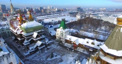 Beautiful aerial panorama of winter Izmaylovo Kremlin in Moscow. - stock footage