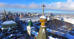 Wooden cross on the top of belfry in the Izmaylovo Kremlin in Moscow. - stock footage