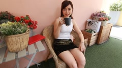 Portrait of thai adult women office beautiful girl drinking coffee Stock Footage