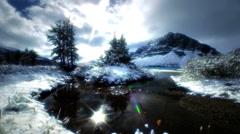 Snow, lake , mountains, Banff, Canada Stock Footage