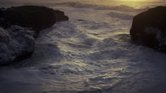 Sea foam and waves, Pacific Ocean, Oregon Stock Footage