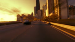 Car POV downtown Chicago, IL Stock Footage