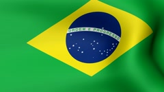 Flag of Brazil, fluttering in the wind. 3D rendering. Looping video. Stock Footage