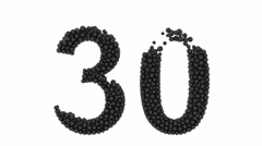 Number 30 thirty in decorative black balls Stock Footage