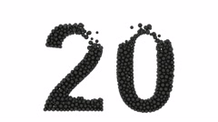 The number 20 formed of closely packed black balls Stock Footage