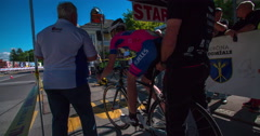 Another competitor starts the road bicycle race  Stock Footage
