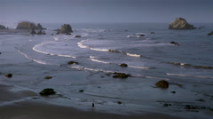 Pacific Ocean beach with rocks, Bandon, Oregon Stock Footage