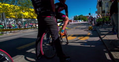 Two men are starting a road bicycle race Stock Footage