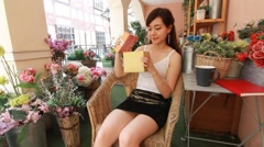 Portrait of thai women adult beautiful girl hold gift box in hands Stock Footage