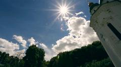 Sun rays shining down on a Church Stock Footage