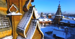 Close ascensioning view of wooden belfry in the Izmaylovo Kremlin in Moscow. Stock Footage