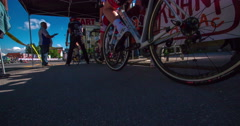 Two competitors are waiting to start the bicycle race Stock Footage