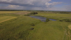 Aerial View.Landscape of the field, lake Stock Footage