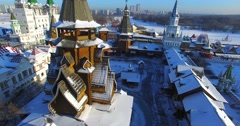 Ascensioning view of wooden belfry in the Izmaylovo Kremlin in Moscow. - stock footage