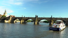 The Charles Brdige from a Tourist boat at the Vltava River Stock Footage