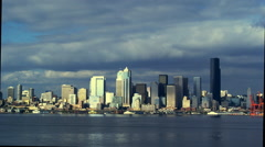 Downtown Seattle and Puget Sound, WA Stock Footage