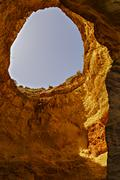 beautiful cave in the Algarve Portugal - stock photo