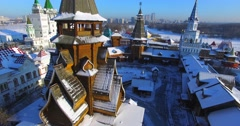 Ascensioning view of wooden belfry in the Izmaylovo Kremlin in Moscow. Stock Footage