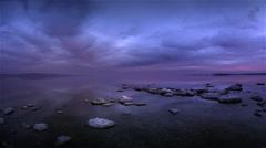 Storm clouds over Salton Sea, California Stock Footage