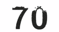 The number 70 composed of small black balls Stock Footage