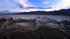Aerial POV, Salt flats, Death Valley National Park, California Stock Footage