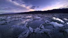 Aerial POV, Salt flats, Death Valley National Park, California Stock Footage