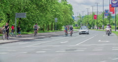 Two cyclists are driving together in a bicycle race Stock Footage