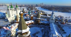 Descending view of wooden belfry in the Izmaylovo Kremlin in Moscow. - stock footage