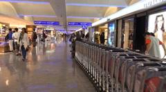 4k Airport Taipei Taiwan terminal indoor shopping floor Stock Footage