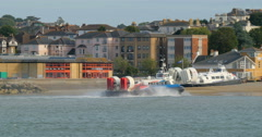 Hovercraft boat arriving Stock Footage