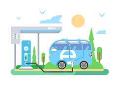 Electric vehicle charging Stock Illustration