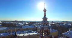 Temple of the Lord Presentation in old city of Russia Yaroslavl. - stock footage