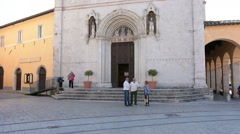 St. Benedict church in Norcia Italy - stock footage