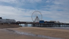 View of the beach and piers in Blackpool, UK Stock Footage