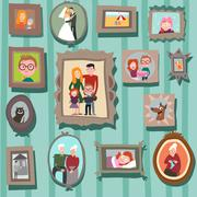 Wall with family portraits Stock Illustration