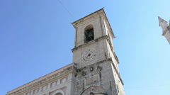 Clock tower of the Palace of the municipality of Norcia, Italy Stock Footage