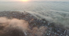 Aerial of Misty Sunset in Cape Town Arkistovideo