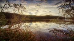 Pond reflecting sky, Oregon Stock Footage
