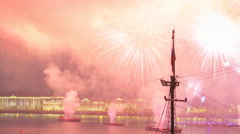 Fireworks timelapse over the city of St. Petersburg Russia on the feast of Stock Footage