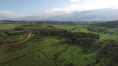 Aerial of Tranquil Green Field in Country Side in South Africa Stock Footage