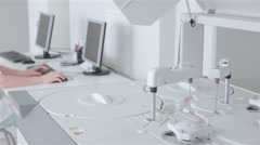 Unrecognizable scientist works with pharmaceutical and Medicine automatic Stock Footage