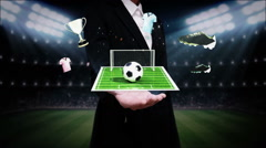 Businesswoman open palm, Around Soccer icon, football field, animation - stock footage