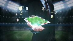 Businessman open palm, Around Soccer icon, rotating football field, animation. - stock footage