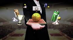 Businesswoman open palm, Around basketball icon, court, goalpost. Stock Footage