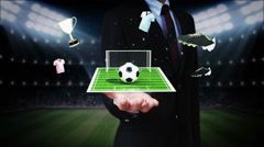 Businessman open palm, Around Soccer icon, football field, animation. Stock Footage