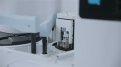 Modern Medicine manufacturing and lab equipment. Pharmaceutical production line Stock Footage